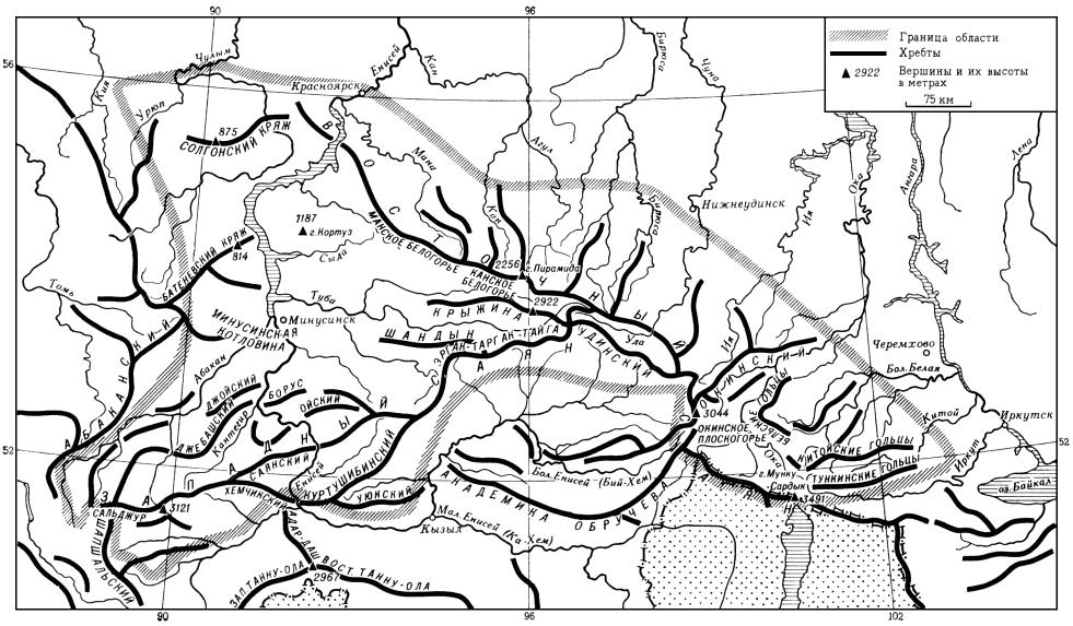 Орографическая схема Саянской